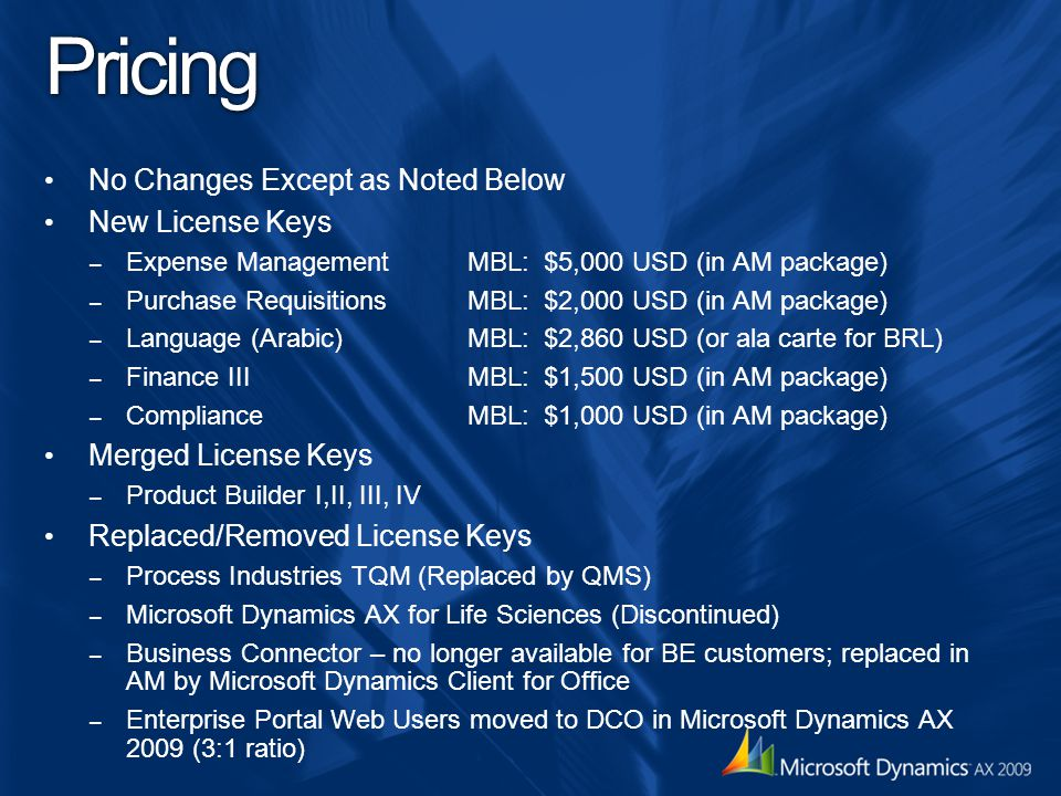 Pricing No Changes Except as Noted Below New License Keys