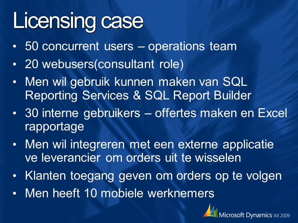 Licensing case 50 concurrent users – operations team