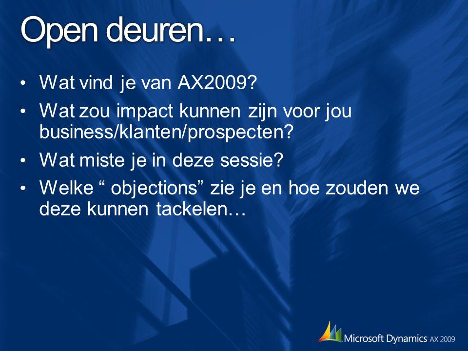 Open deuren… Wat vind je van AX2009