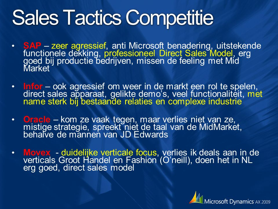Sales Tactics Competitie