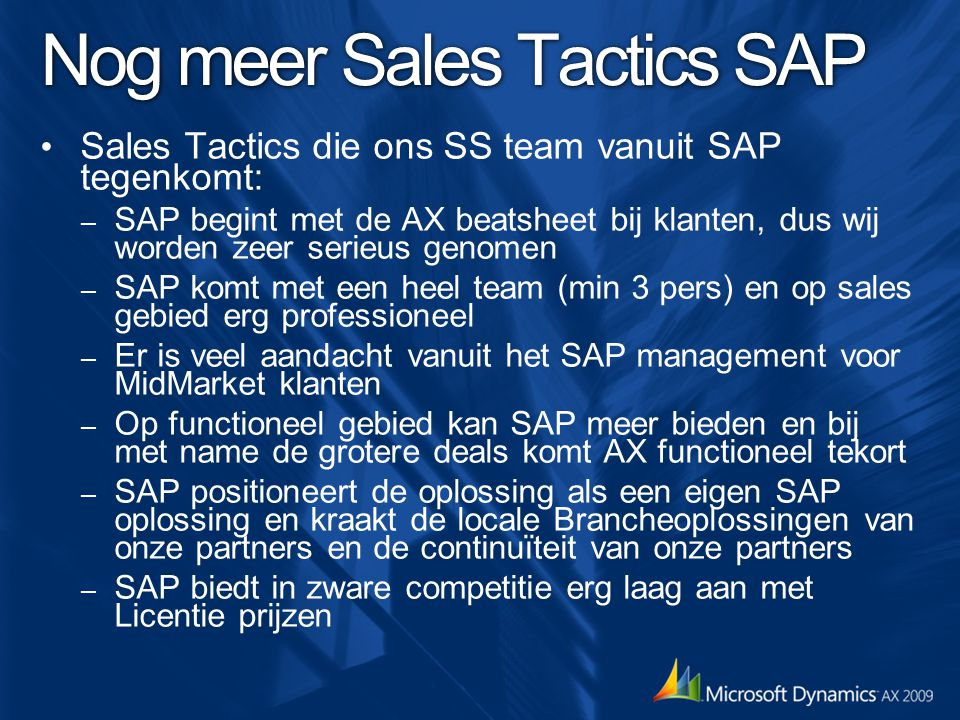 Nog meer Sales Tactics SAP