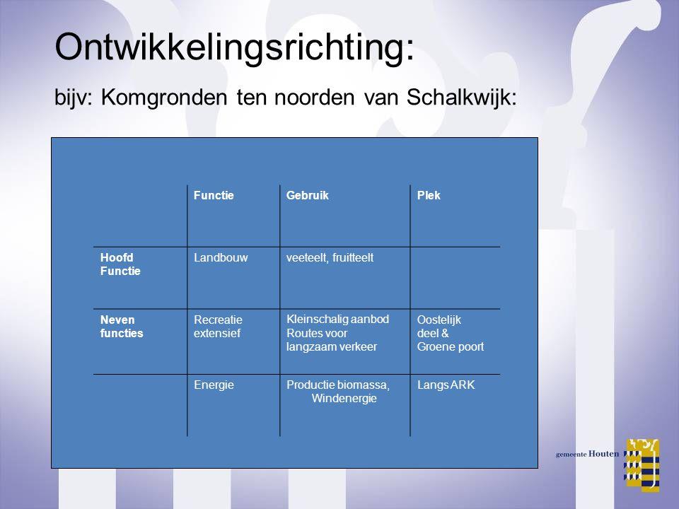Ontwikkelingsrichting: bijv: Komgronden ten noorden van Schalkwijk: