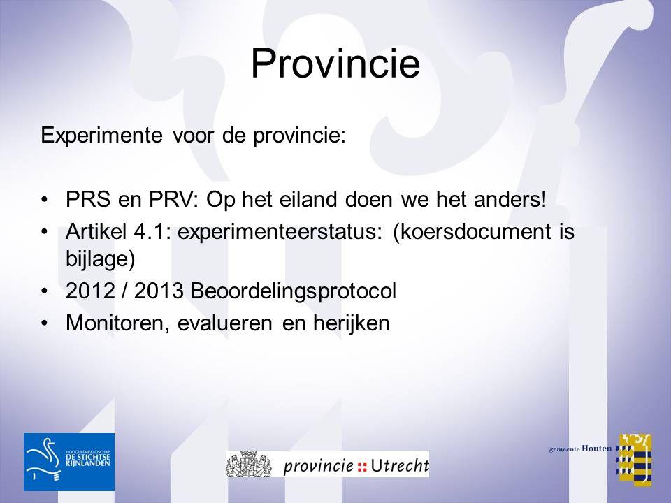 Provincie Experimente voor de provincie: