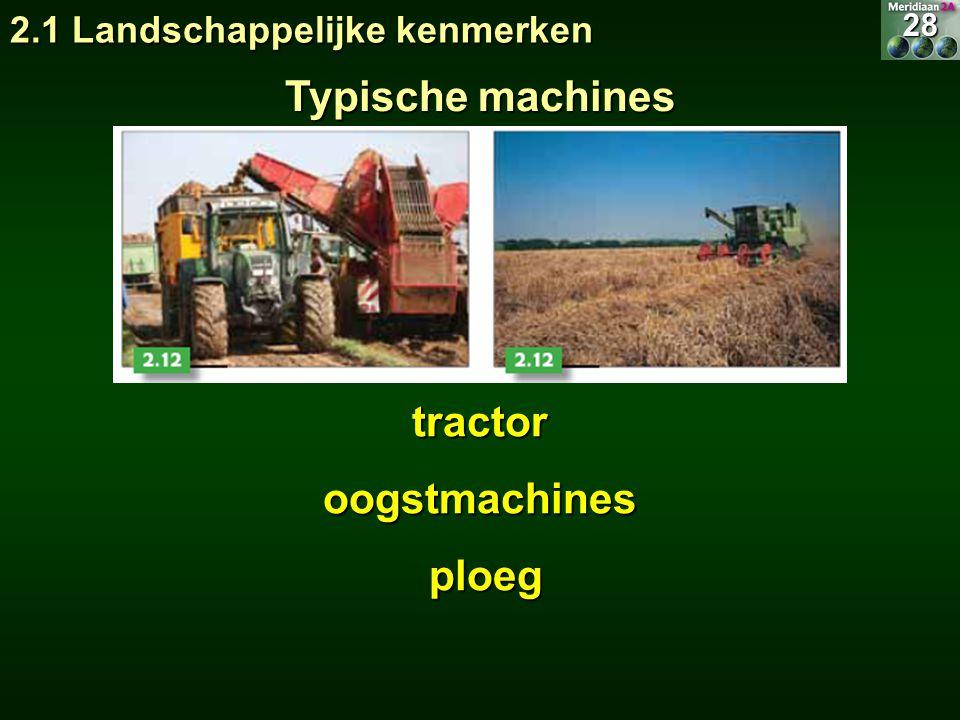 Typische machines tractor oogstmachines ploeg