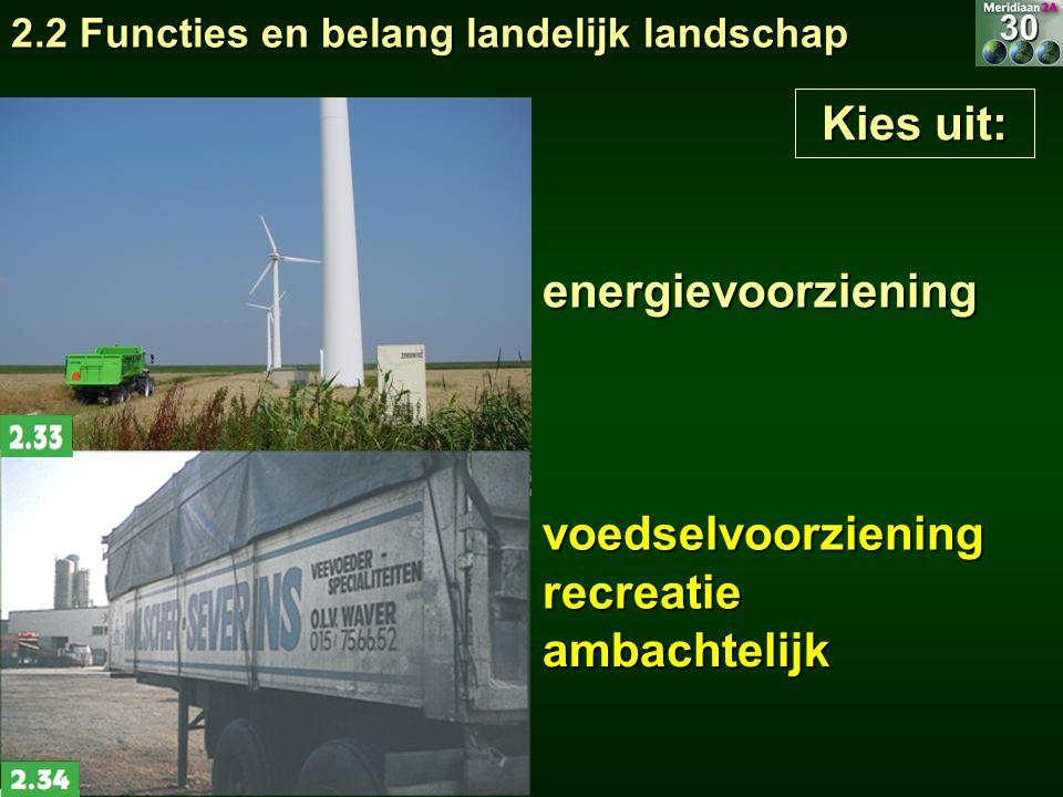 Kies uit: energievoorziening voedselvoorziening recreatie ambachtelijk