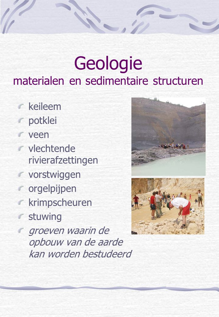 Geologie materialen en sedimentaire structuren