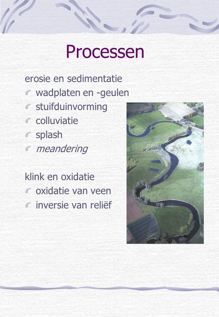 Processen erosie en sedimentatie wadplaten en -geulen stuifduinvorming