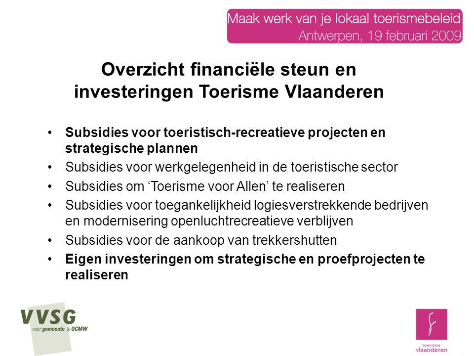 Overzicht financiële steun en investeringen Toerisme Vlaanderen