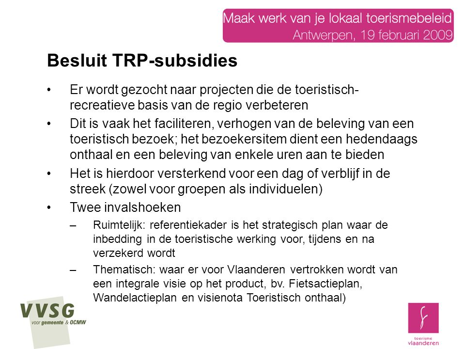 Besluit TRP-subsidies