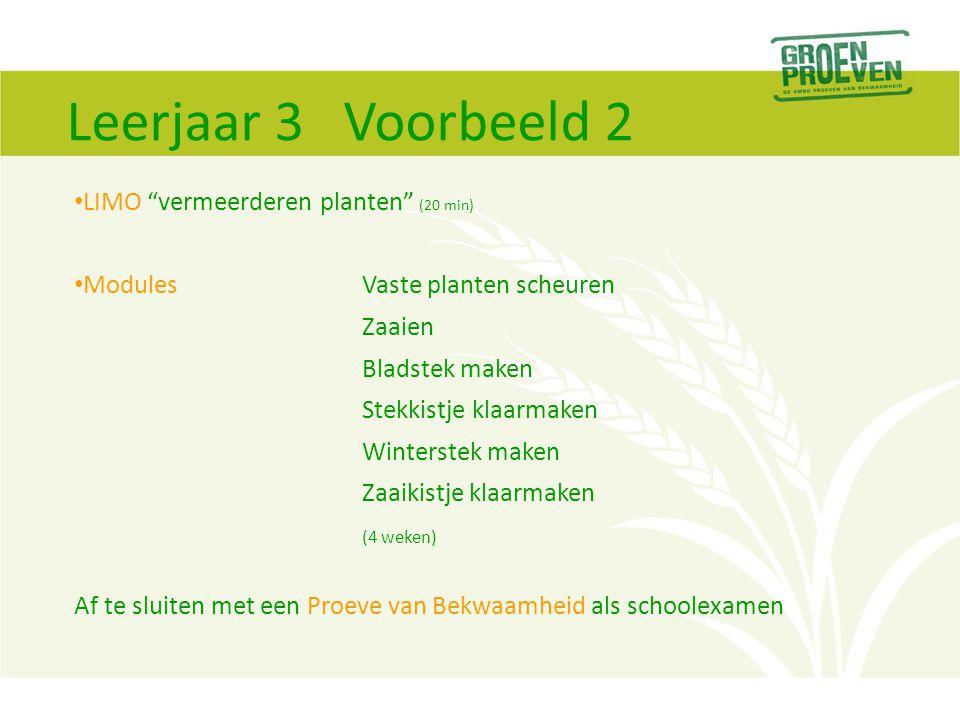 Leerjaar 3 Voorbeeld 2 LIMO vermeerderen planten (20 min)