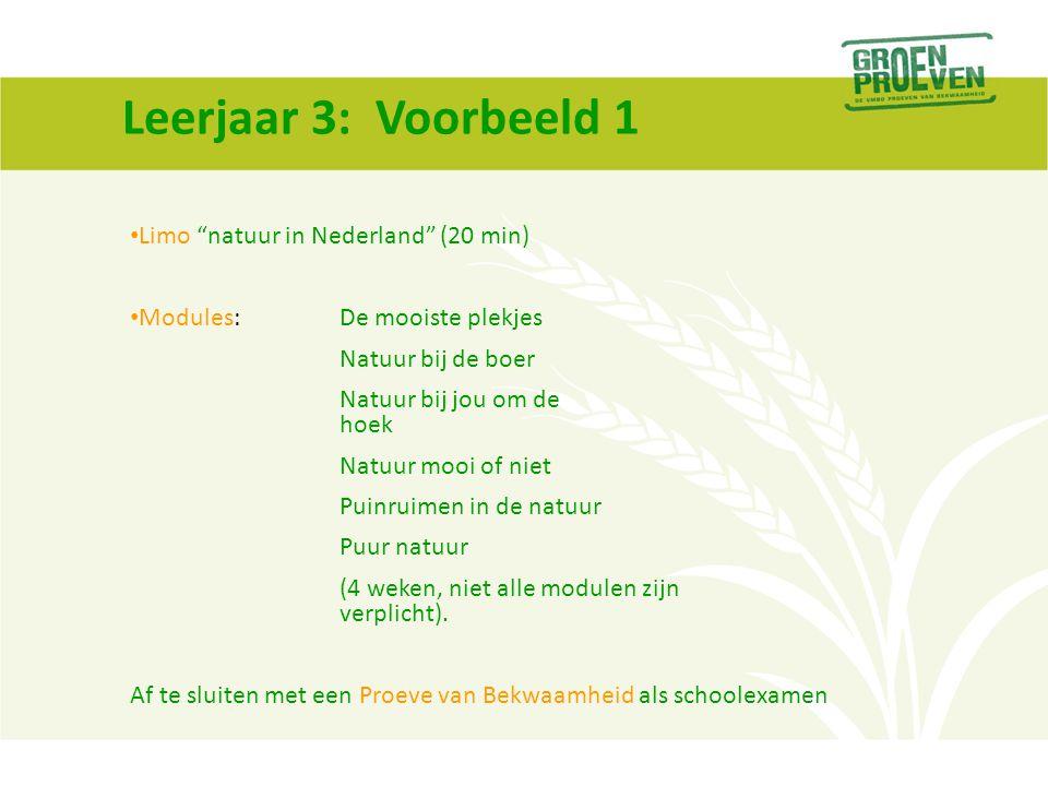 Leerjaar 3: Voorbeeld 1 Limo natuur in Nederland (20 min)