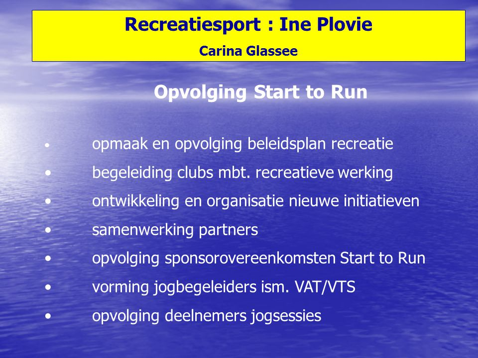 Recreatiesport : Ine Plovie