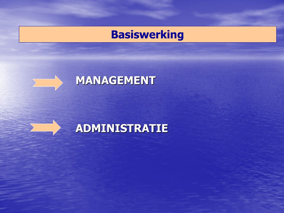 Basiswerking MANAGEMENT ADMINISTRATIE