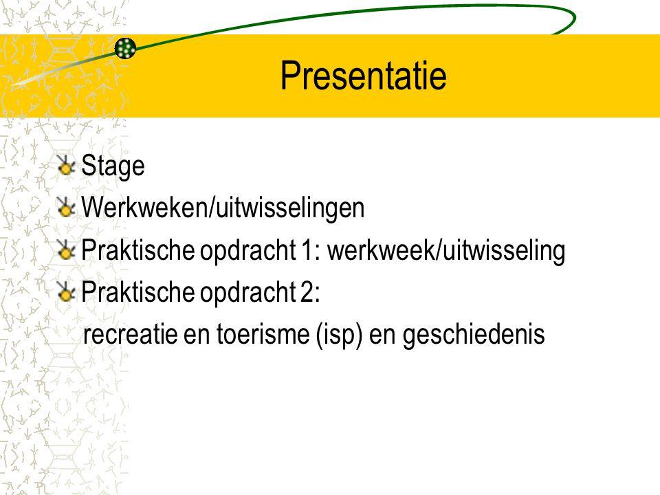 Presentatie Stage Werkweken/uitwisselingen