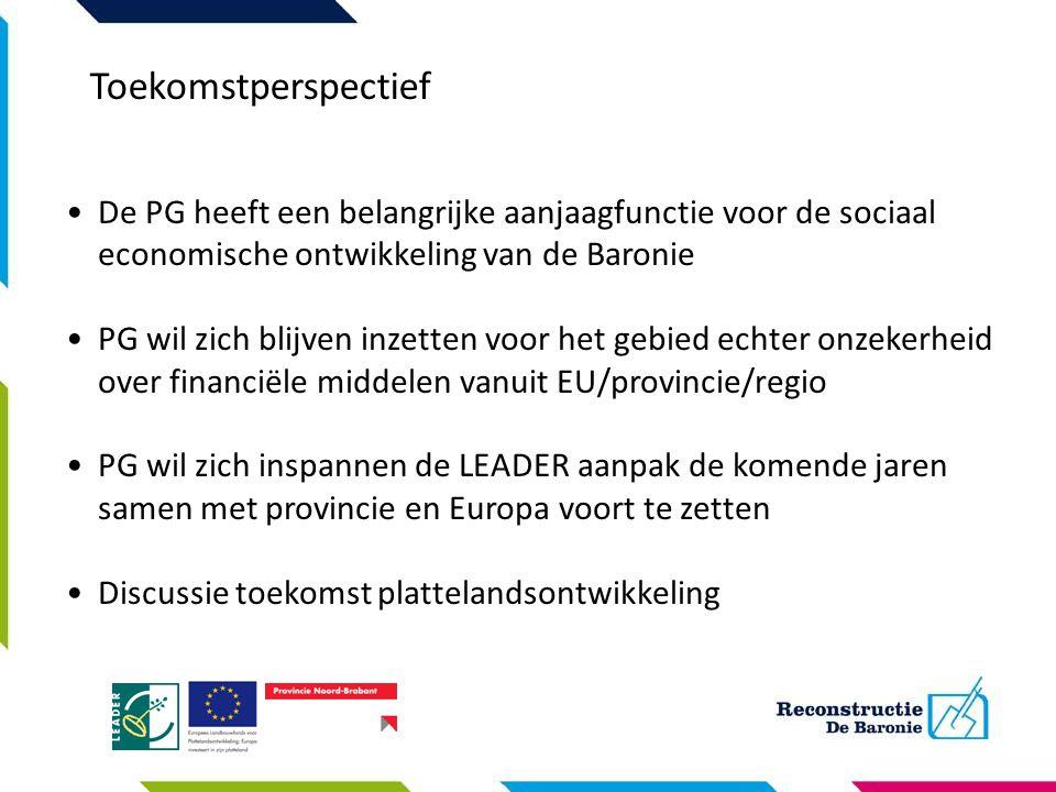 Toekomstperspectief De PG heeft een belangrijke aanjaagfunctie voor de sociaal economische ontwikkeling van de Baronie.