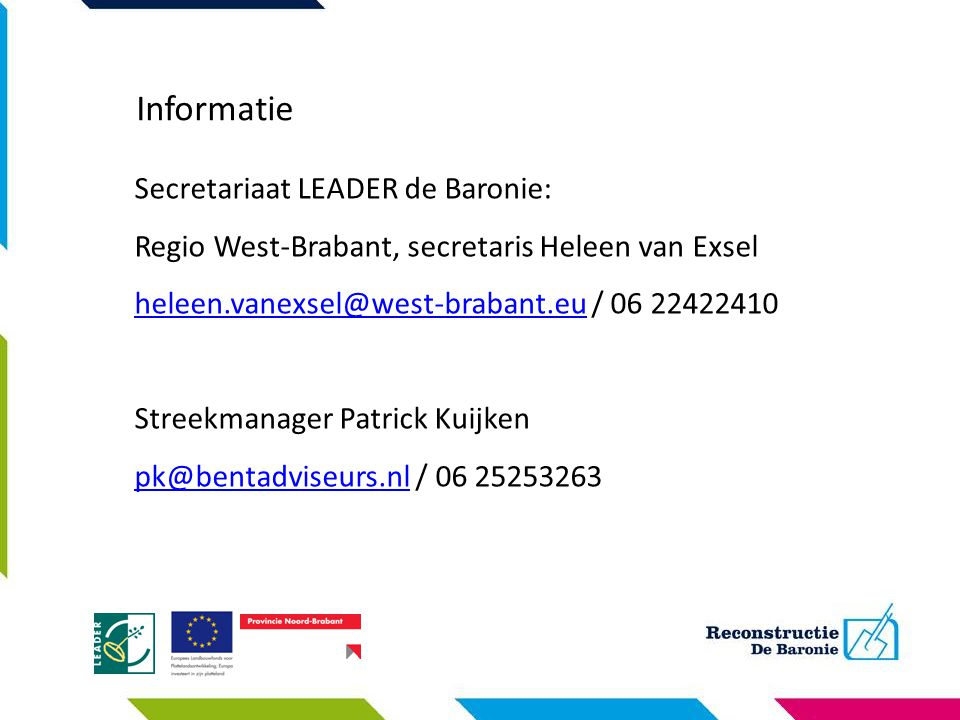 Informatie Secretariaat LEADER de Baronie: