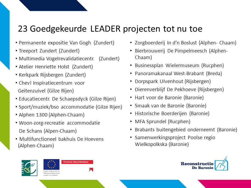 23 Goedgekeurde LEADER projecten tot nu toe