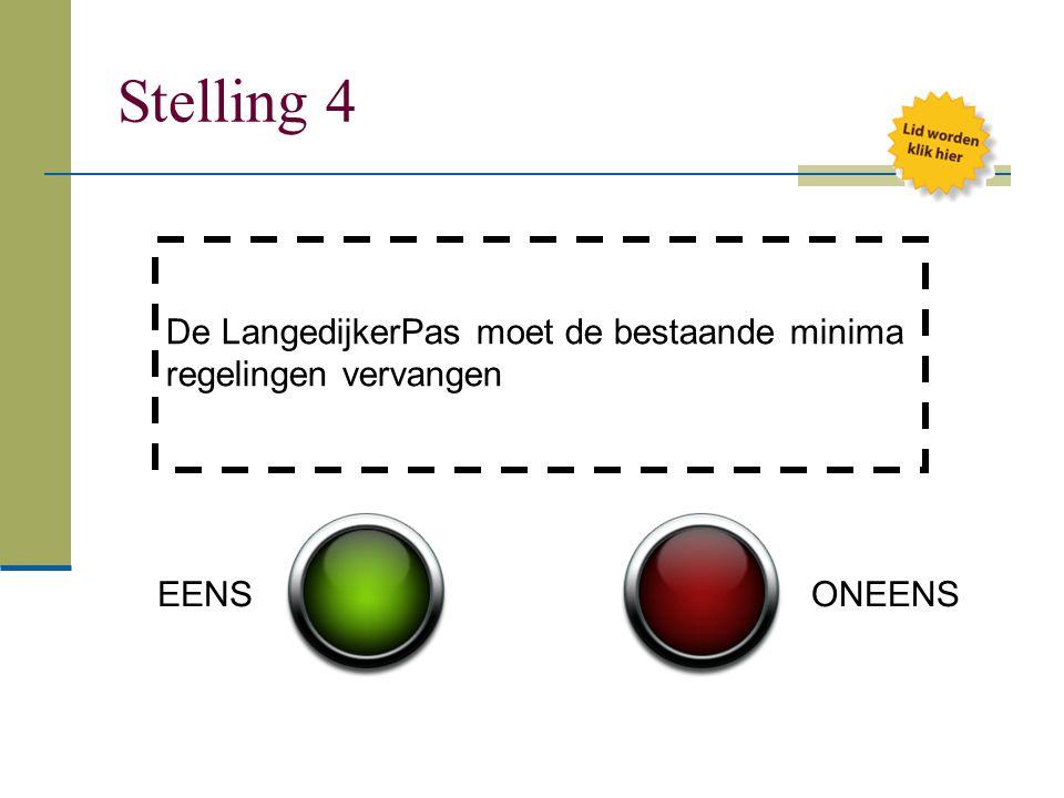 Stelling 4 De LangedijkerPas moet de bestaande minima regelingen vervangen EENS ONEENS