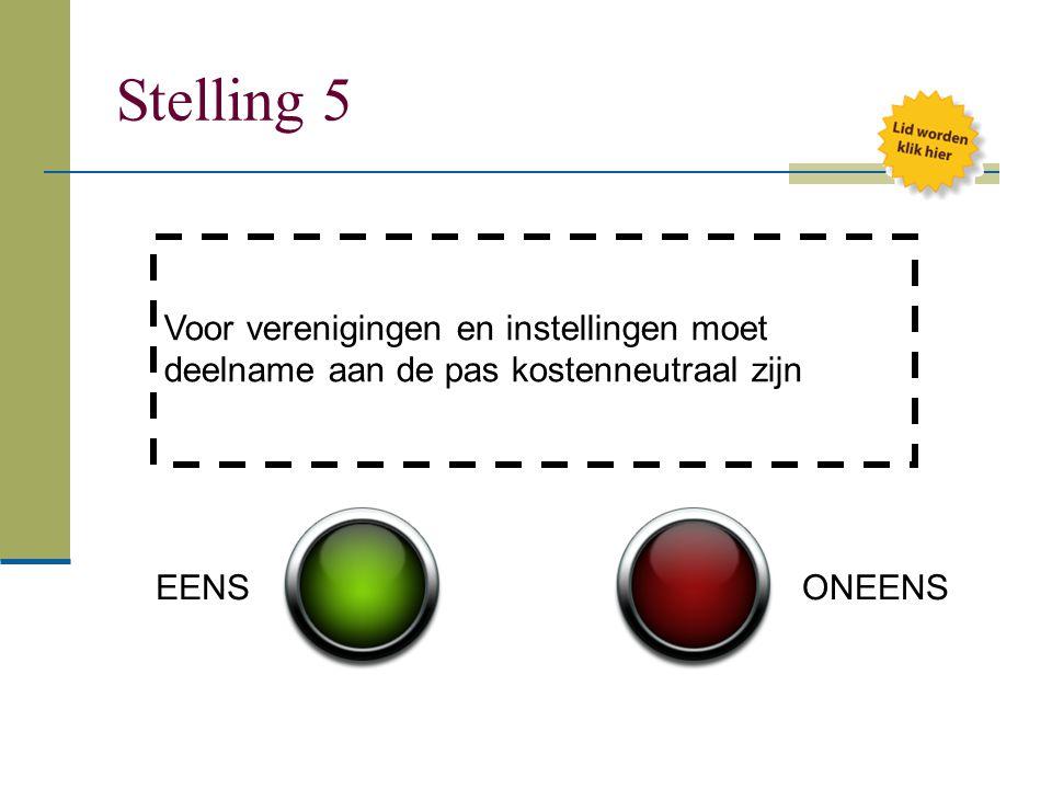 Stelling 5 Voor verenigingen en instellingen moet deelname aan de pas kostenneutraal zijn.