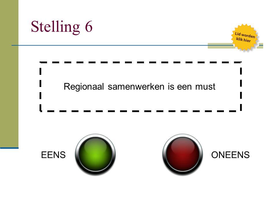Stelling 6 Regionaal samenwerken is een must EENS ONEENS