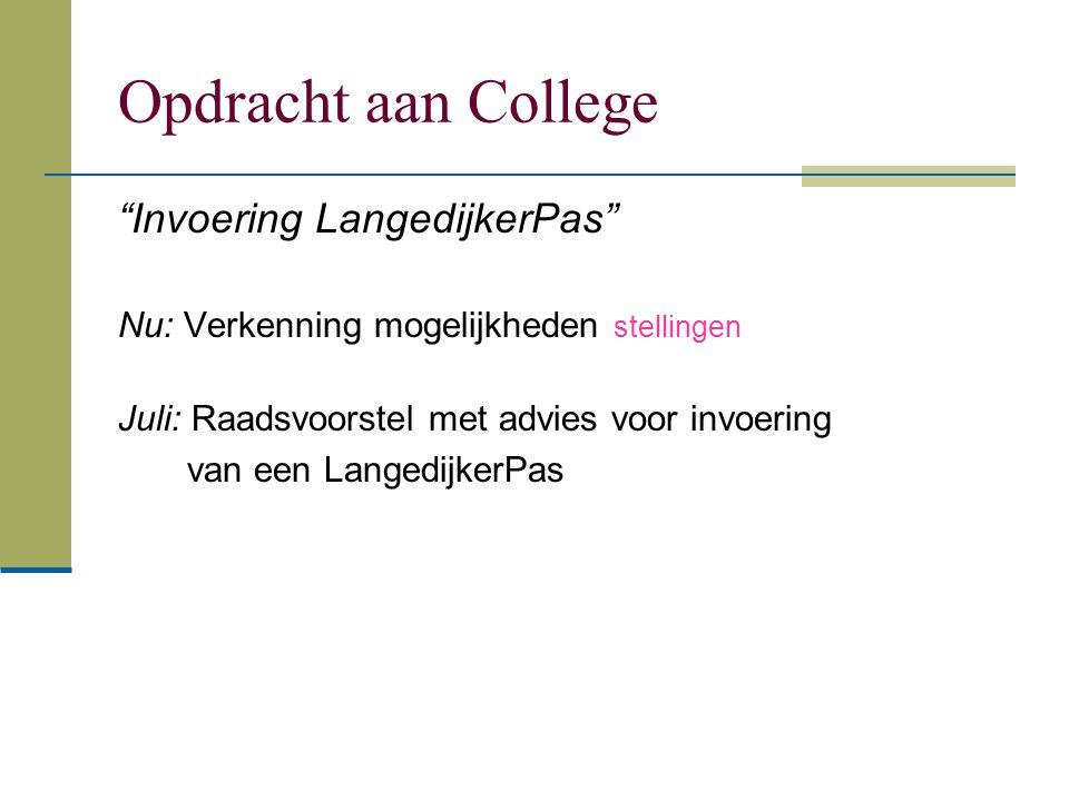 Opdracht aan College Invoering LangedijkerPas