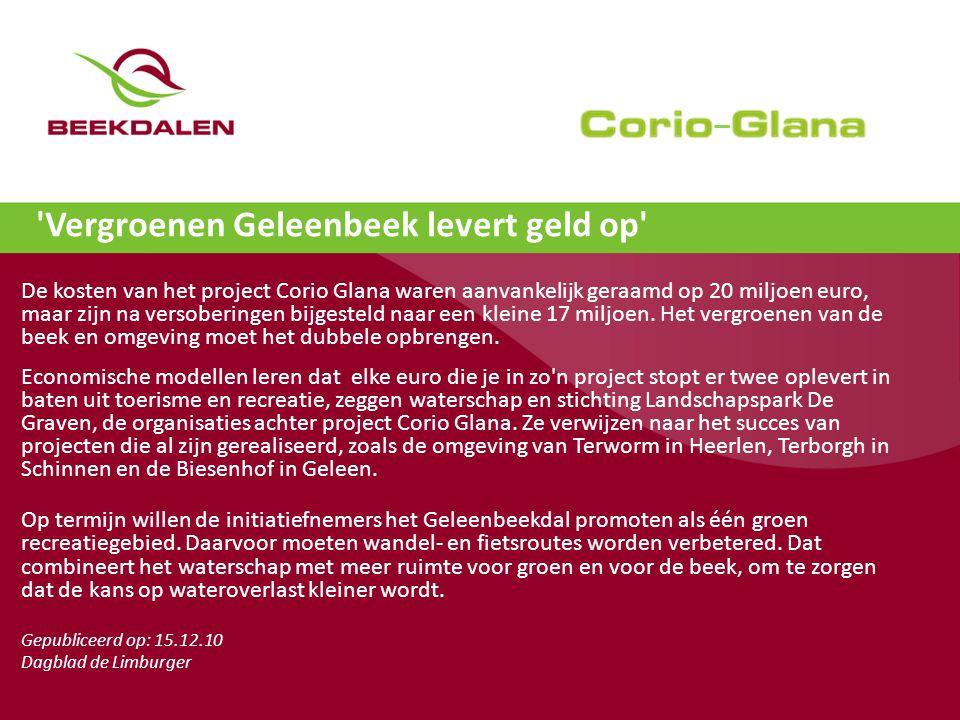 Vergroenen Geleenbeek levert geld op