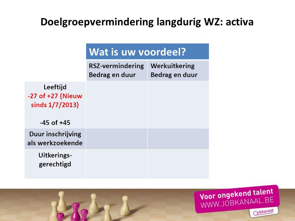 Doelgroepvermindering langdurig WZ: activa