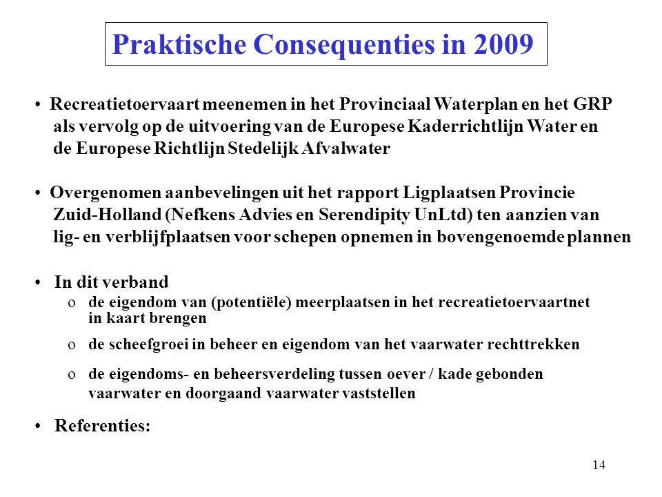 Praktische Consequenties in 2009