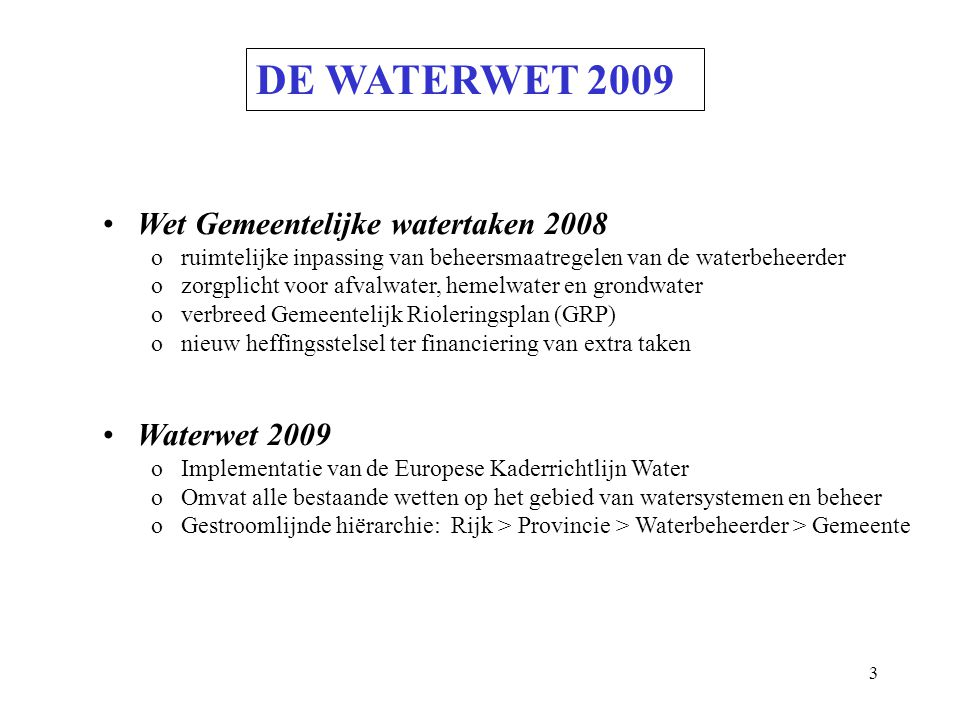 DE WATERWET 2009 Wet Gemeentelijke watertaken 2008 Waterwet 2009