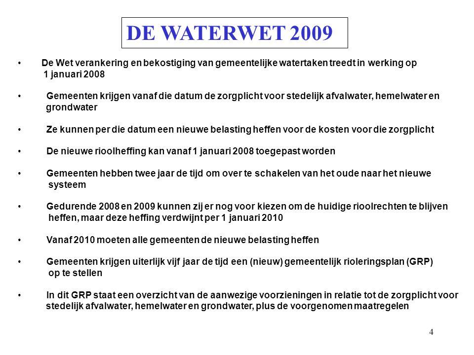 DE WATERWET 2009 De Wet verankering en bekostiging van gemeentelijke watertaken treedt in werking op.