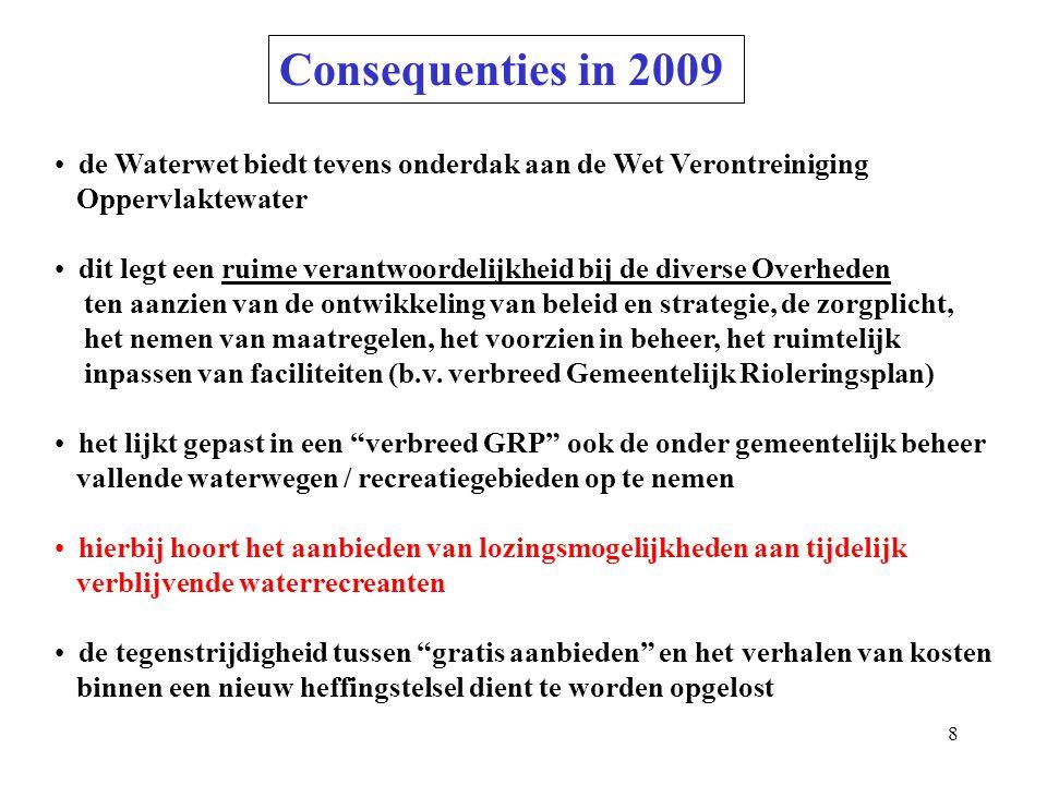 Consequenties in 2009 de Waterwet biedt tevens onderdak aan de Wet Verontreiniging. Oppervlaktewater.
