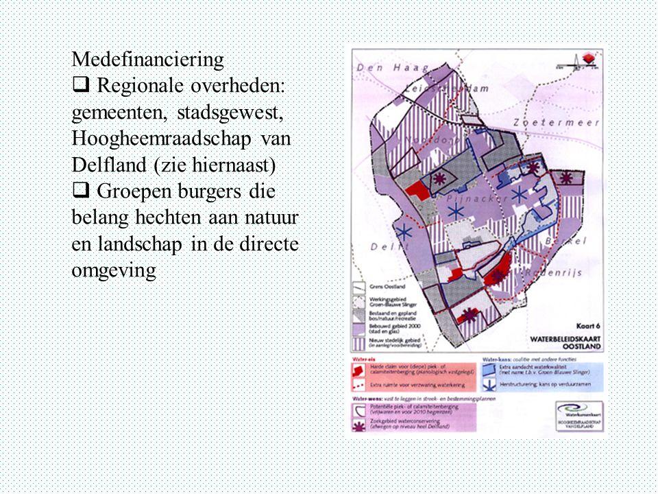 Medefinanciering Regionale overheden: gemeenten, stadsgewest, Hoogheemraadschap van Delfland (zie hiernaast)