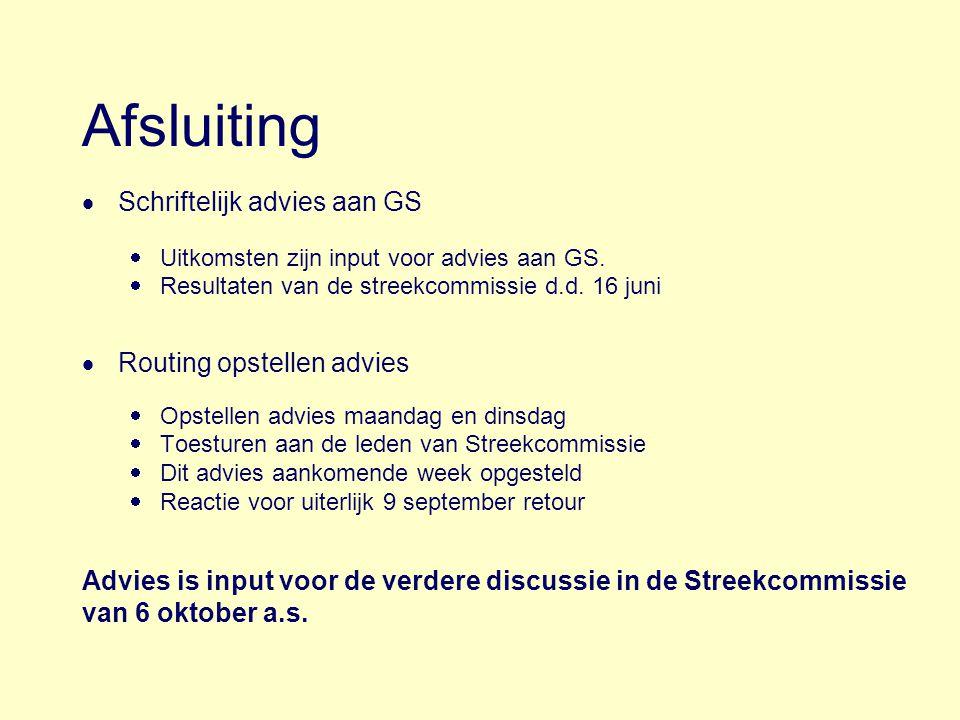 Afsluiting Schriftelijk advies aan GS Routing opstellen advies