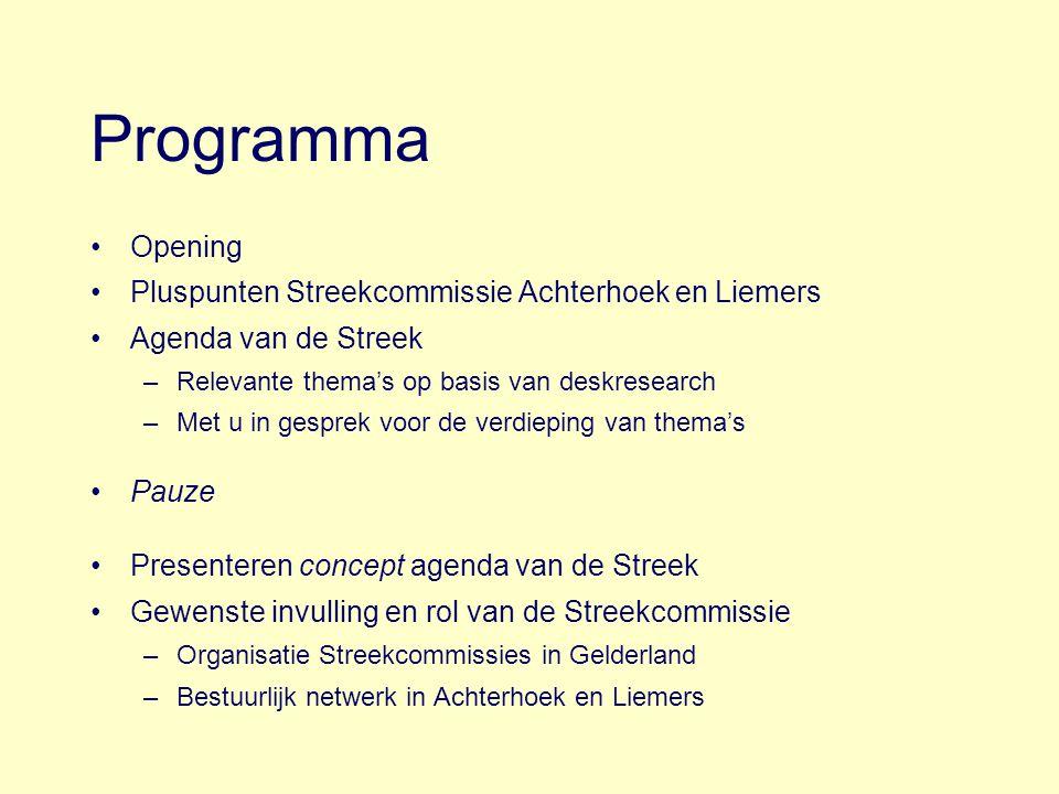 Programma Opening Pluspunten Streekcommissie Achterhoek en Liemers