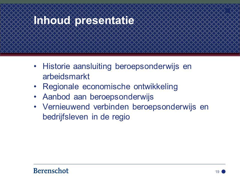 Inhoud presentatie Historie aansluiting beroepsonderwijs en arbeidsmarkt. Regionale economische ontwikkeling.