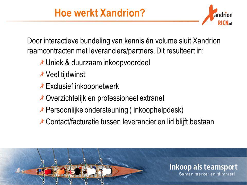 Hoe werkt Xandrion Door interactieve bundeling van kennis én volume sluit Xandrion raamcontracten met leveranciers/partners. Dit resulteert in: