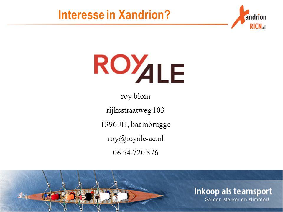 Interesse in Xandrion roy blom rijksstraatweg 103 1396 JH, baambrugge