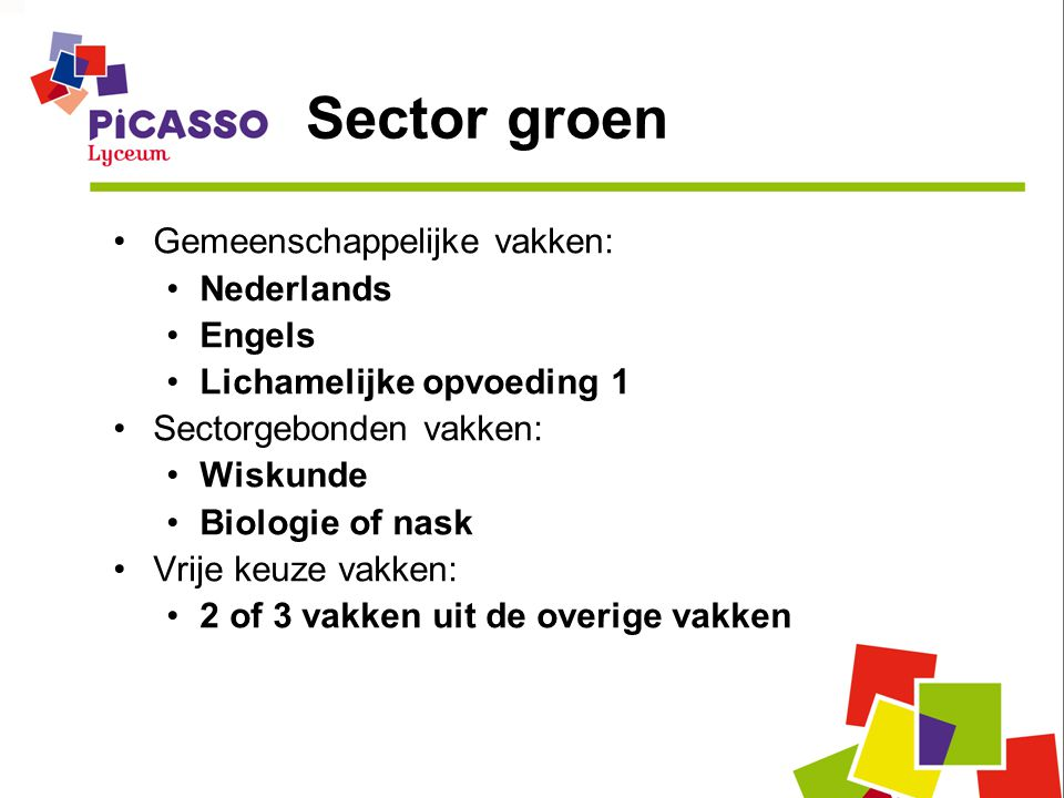 Sector groen Gemeenschappelijke vakken: Nederlands Engels