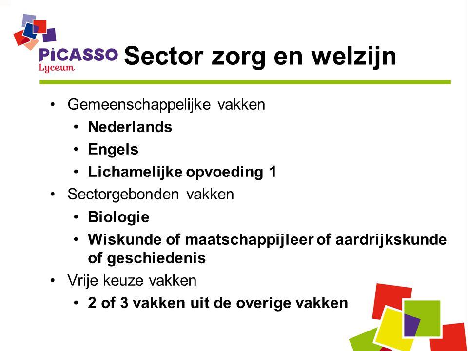 Sector zorg en welzijn Gemeenschappelijke vakken Nederlands Engels