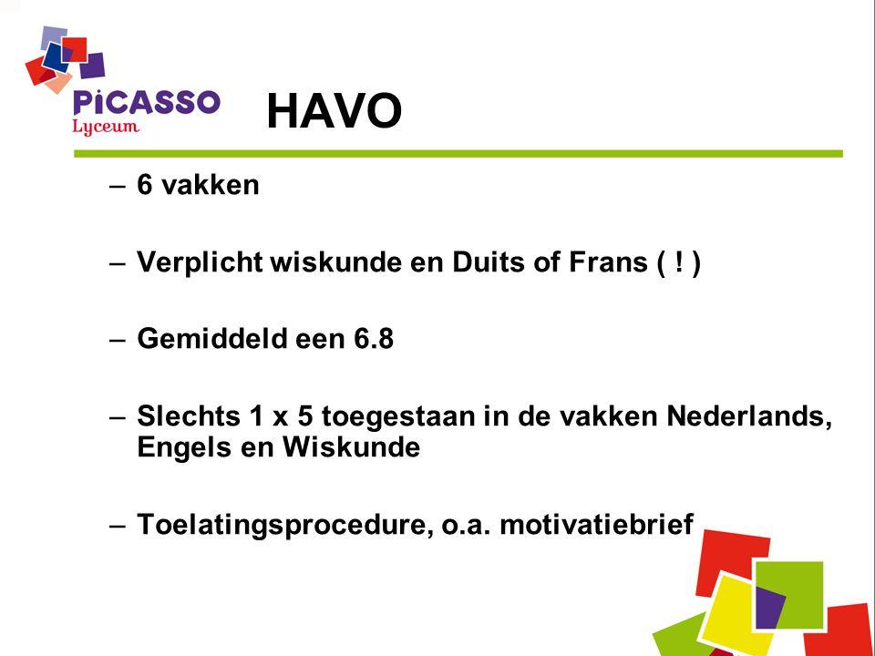 HAVO 6 vakken Verplicht wiskunde en Duits of Frans ( ! )