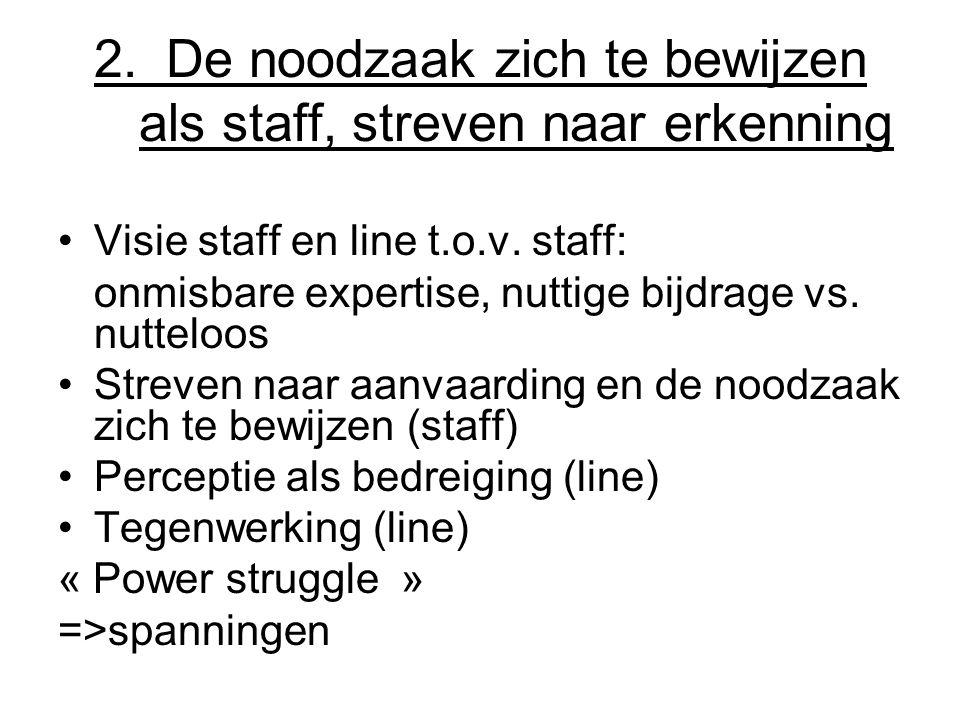 2. De noodzaak zich te bewijzen als staff, streven naar erkenning
