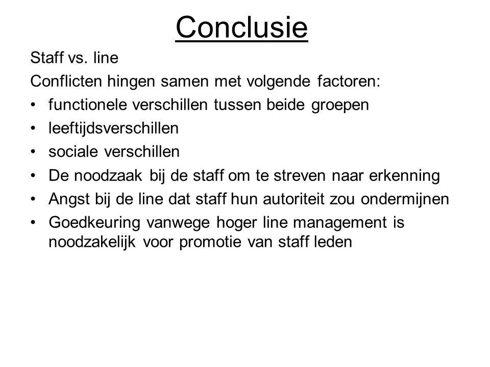 Conclusie Staff vs. line