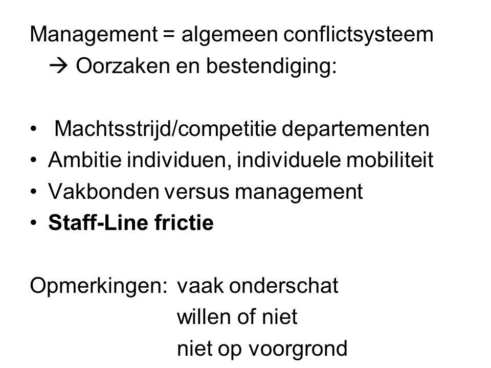 Management = algemeen conflictsysteem