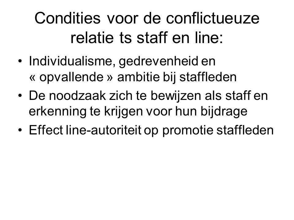Condities voor de conflictueuze relatie ts staff en line: