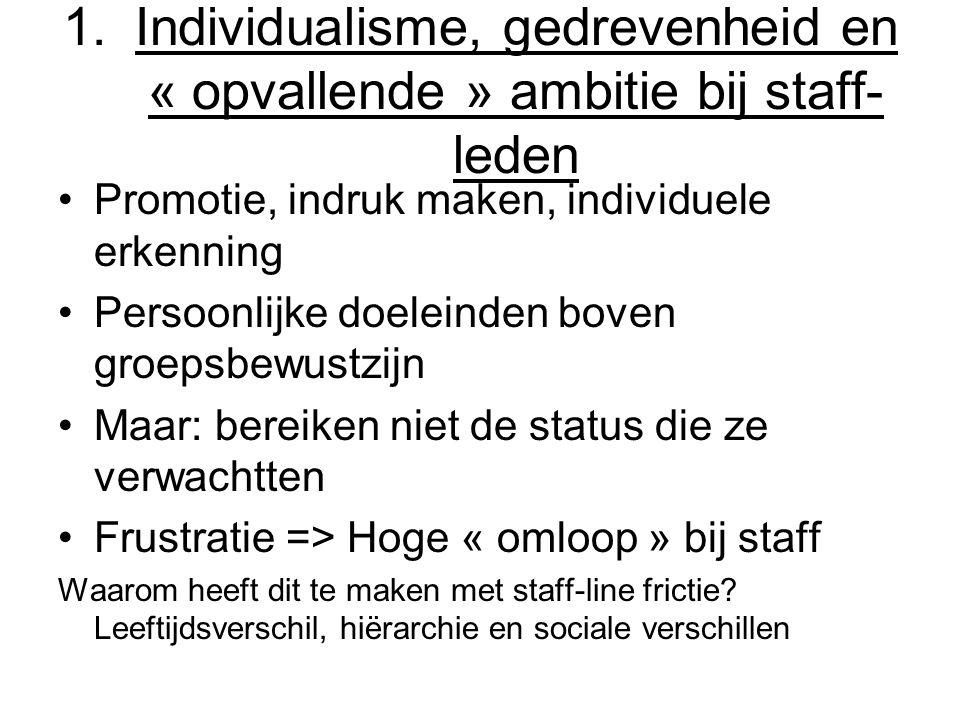 Individualisme, gedrevenheid en « opvallende » ambitie bij staff-leden