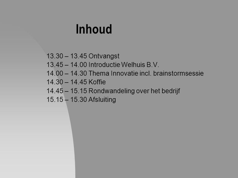 Inhoud 13.30 – 13.45 Ontvangst 13.45 – 14.00 Introductie Welhuis B.V.