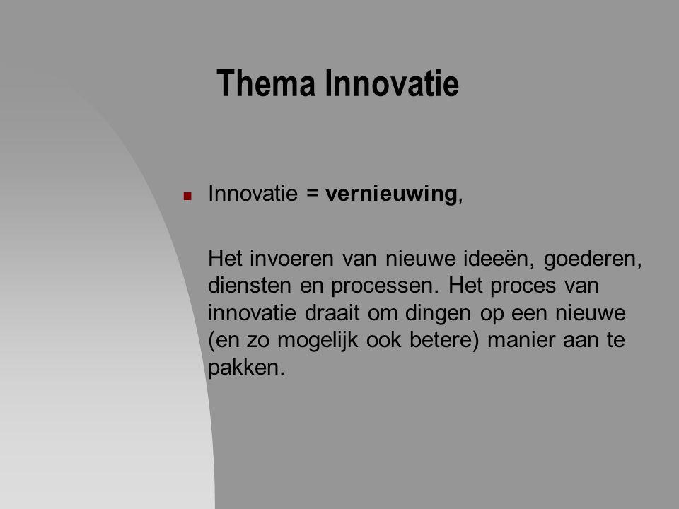 Thema Innovatie Innovatie = vernieuwing,