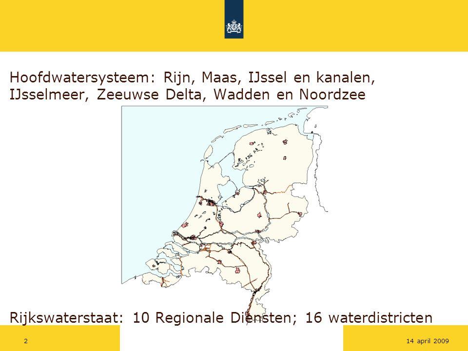 Hoofdwatersysteem: Rijn, Maas, IJssel en kanalen, IJsselmeer, Zeeuwse Delta, Wadden en Noordzee Rijkswaterstaat: 10 Regionale Diensten; 16 waterdistricten