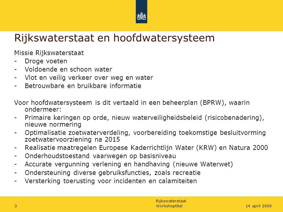 Rijkswaterstaat en hoofdwatersysteem