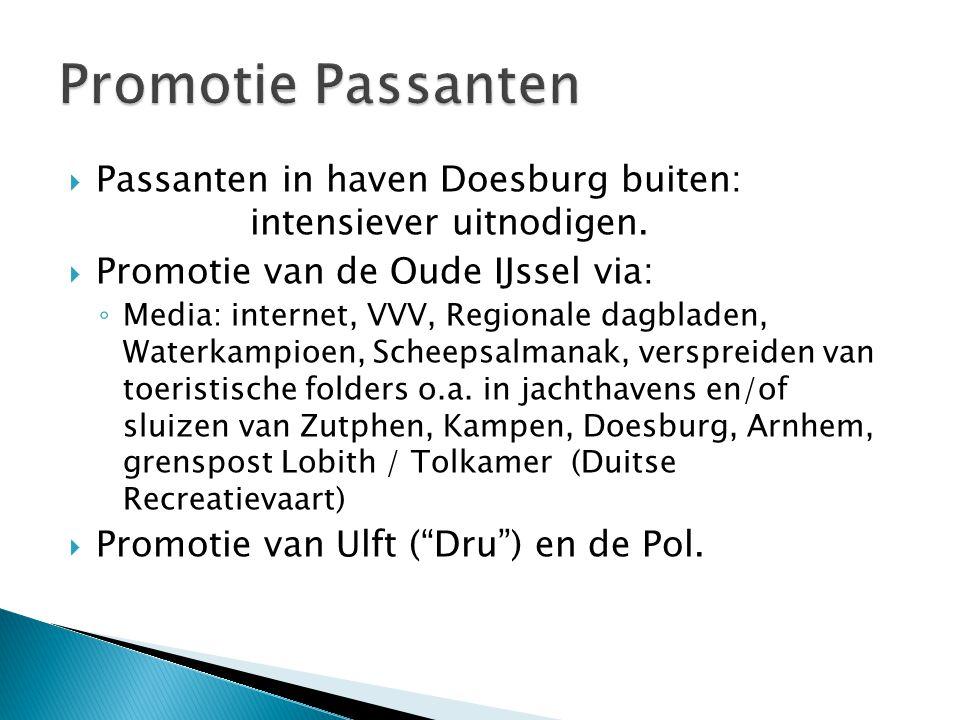 Promotie Passanten Passanten in haven Doesburg buiten: intensiever uitnodigen. Promotie van de Oude IJssel via: